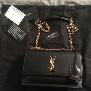 YSL Black Medium Sunset Bag